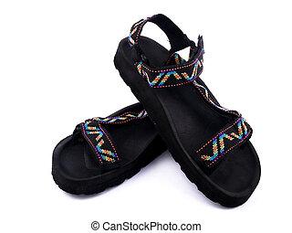 blanc, sandales, fond