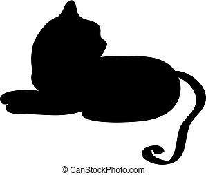 blanc, silhouette, isolé, fond, chat