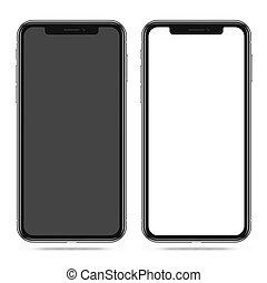 blanc, smartphone, vide, noir, écran, moderne