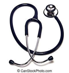 blanc, stéthoscope, isolé, fond