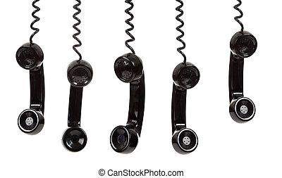 blanc, téléphone noir, fond, récepteur