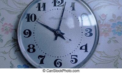 blanc, temps, gros plan, o'clock., retro, dial., horloge, vendange, stopped., dix, zoom.