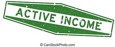 blanc, timbre, cachet, actif, mot, caoutchouc, fond, vert, grunge, revenu, hexagone
