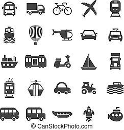 blanc, transport, fond, icônes