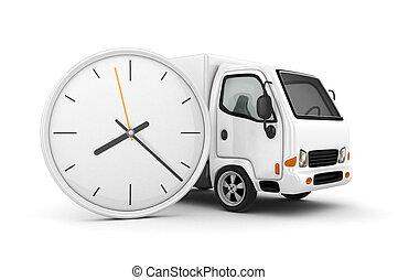blanc, truck-fast, expédition