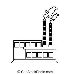 blanc, usine, fond, nuages fumée