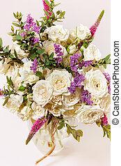 blanc, vase, roses