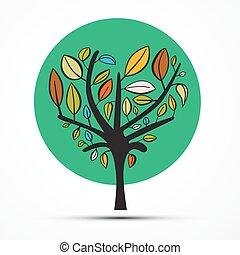 blanc, vecteur, arbre, isolé, illustration