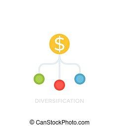 blanc, vecteur, diversification, icône