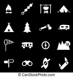 blanc, vecteur, ensemble, camping, icône