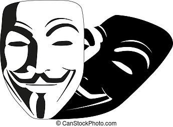 blanc, vecteur, masque, anonyme