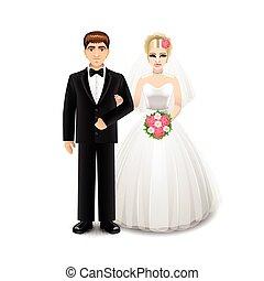 blanc, vecteur, nouveaux mariés, isolé