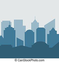 blanc, vecteur, ville, silhouette, fond