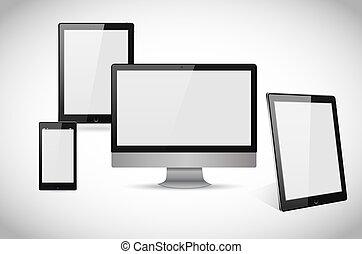 blanc, vectors, ordinateur portable, réaliste, smartphone, informatique, tablette, isolé