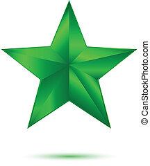 blanc vert, étoile, 3d