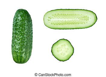 blanc vert, concombre, isolé