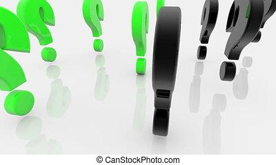 blanc vert, couleurs, marques, question, noir