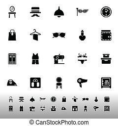 blanc, vestiaire, fond, icônes