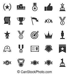 blanc, victoire, fond, icônes