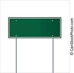 blanc, vide, vert, panneau de signalisation, route