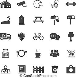 blanc, village, fond, icônes