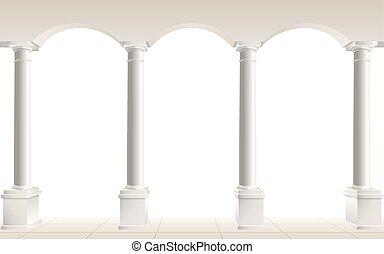 blanc, voûte, colonnes