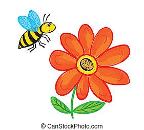 blanc, voler, fleur, isolé, abeille