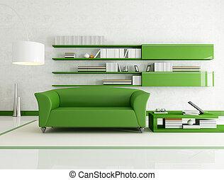 blanche salle, vert, vivant