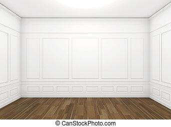 blanche salle, vide, classique