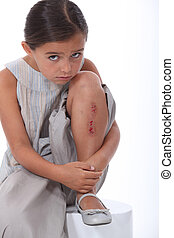 blessé, girl, jeune, jambe