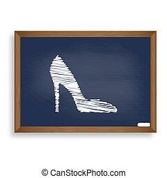 bleu, école, femme, signe., panneau craie, shad, blanc, icône, chaussure