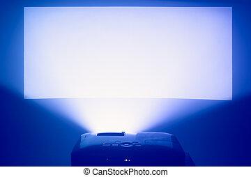 bleu, écran projecteur, chaud, action, éclairé