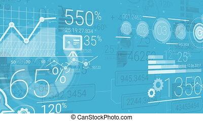 bleu, éléments, résumé, fond, infographics, constitué