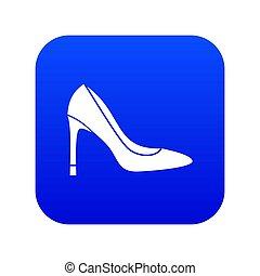 bleu, élevé, chaussure, numérique, talon, icône
