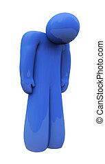 bleu, émotion, isolé, triste, personne, seul, sentiments, dépression