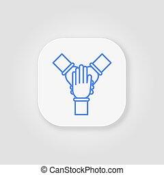 bleu, équipe, ligne, gris, cohésion, fond, icône, work.