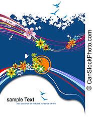 bleu, été, floral, vecteur, arrière-plan., illustration.