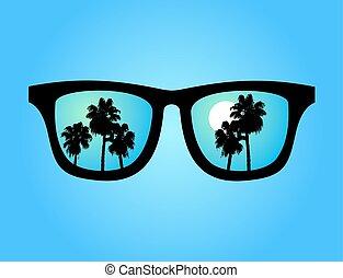 bleu, été, lunettes soleil
