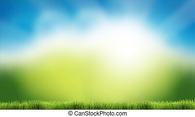 bleu, été, render, nature, printemps, ciel, arrière-plan vert, herbe, 3d
