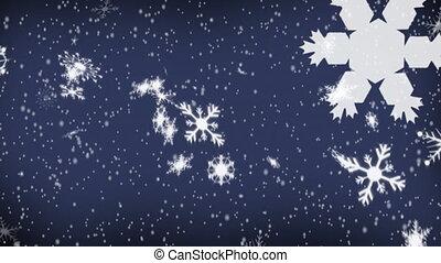 bleu, étoiles chute, fond, flocons neige