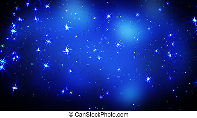 bleu, étoiles, fond, briller