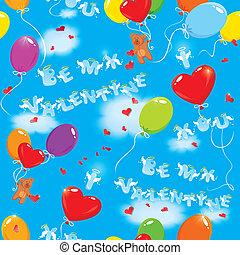 bleu, être, amour, coloré, ours nounours, modèle, ciel, seamless, clouds., textes, valentin, fond, ballons, vous, mon