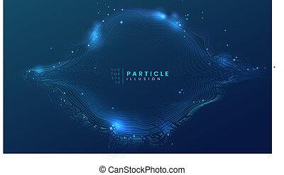 bleu, être, utilisé, cyberespace, particule, science, résumé, dynamique, fond foncé, boîte, technologie, futuriste, projet