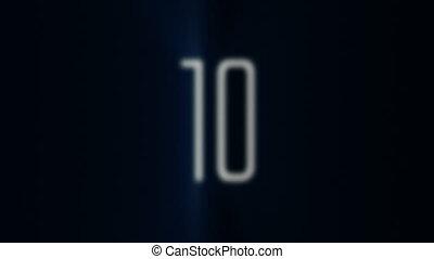 bleu, 10, compte rebours, lumière, 1, r