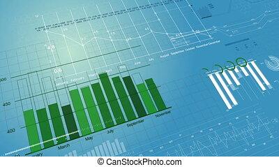 bleu, 1080., fait boucle, financier, animation., screen., diagrammes, figures, hd, numérique, croissant, bourse, 3d