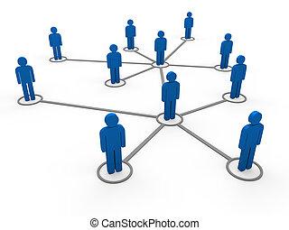 bleu, 3d, réseau, équipe
