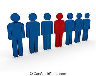 bleu, 3d, rouges, équipe