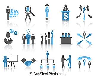 bleu affaires, série, gestion, icônes