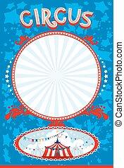 bleu, affiche, cirque