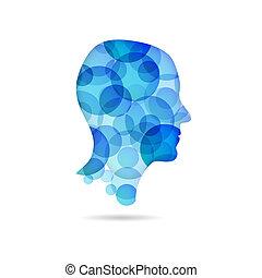 bleu, affiche, tête, -, bulle
